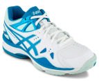ASICS Women's GEL-Netburner 18 (D) Shoe - White/Blue Jewel/Soothing Sea 2