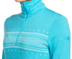 Icebreaker Women's Fair Isle Tech Long Sleeve Merino Half Zip - Glacier 6