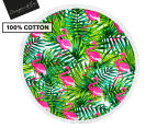Cooper & Co. 150cm Flamingo Round Beach Towel - Green/Pink 1