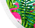 Cooper & Co. 150cm Flamingo Round Beach Towel - Green/Pink 5