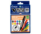 Pilot V Super Color Bullet Tip Permanent Markers - 8-Pack 2
