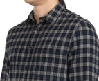 JAG Men's Long Sleeve Brushed Check Shirt - Navy 6