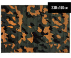 Camouflage 230x160cm Rug - Orange/Green 1