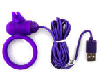 Buckle Up USB Silicone Rabbit Cockring - Purple 2