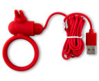 Buckle Up USB Silicone Rabbit Cockring - Red 2