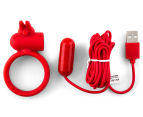 Buckle Up USB Silicone Rabbit Cockring - Red 6