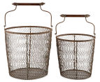 Set of 2 Nested Rustique Storage Bins - Rust 2