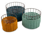 Set of 3 Nested Round Limpopo Baskets - Blue/Aqua/Yellow 1
