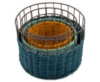 Set of 3 Nested Round Limpopo Baskets - Blue/Aqua/Yellow 3