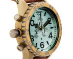 Nixon Men's 51mm 51-30 Chrono Leather Watch - Brass/Green Crystal/Brown 3