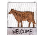 Metallic 46x40.5cm Cow Welcome Sign - Rust 1