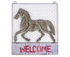Metallic 46x40.5cm Horse Welcome Sign - Grey 1