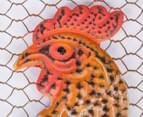 Metallic 46x40.5cm Rooster Welcome Sign - Rust 3