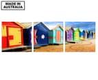 Brighton Bathing Boxes 50x50cm 3-Part Canvas Wall Art Set 1