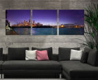 Sydney Evening Skyline 50x50cm 3-Part Canvas Wall Art Set 2