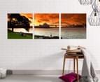 Sydney Harbour Fire Sky 50x50cm 3-Part Canvas Wall Art Set 2