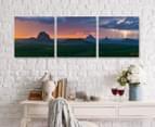 Lightning Over Glass House Mountain 50x50cm 3-Part Canvas Wall Art Set 2