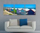 Brighton Bathing Boxes 50x50cm 3-Part Canvas Wall Art Set 2