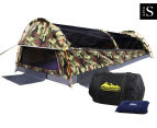 King Single Camping Canvas Swag Tent - Green/Camo 1