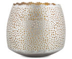 Large 11x12.5cm Tealight Votive w/Intricate Cut-Outs - Nickel 1