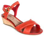 Rockport Women's Total Motion Stitched Quarter Strap Sandal - Red Berry 2