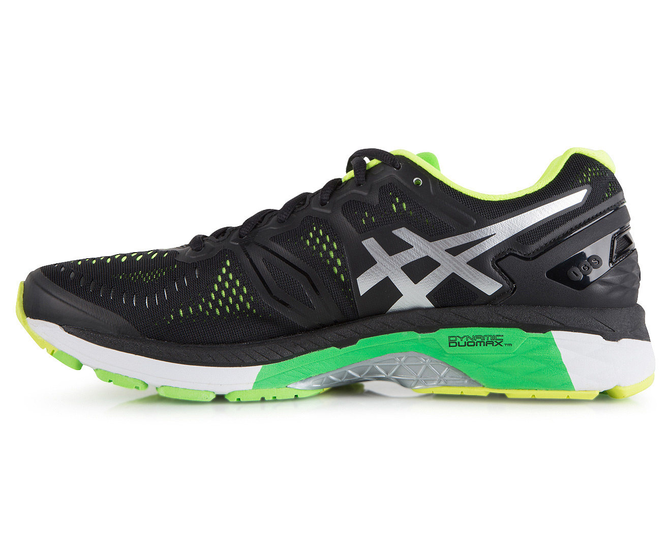 buy online a0ec5 33a93 ASICS Men's GEL-Kayano 23 Shoe - Black/Silver/Safety Yellow