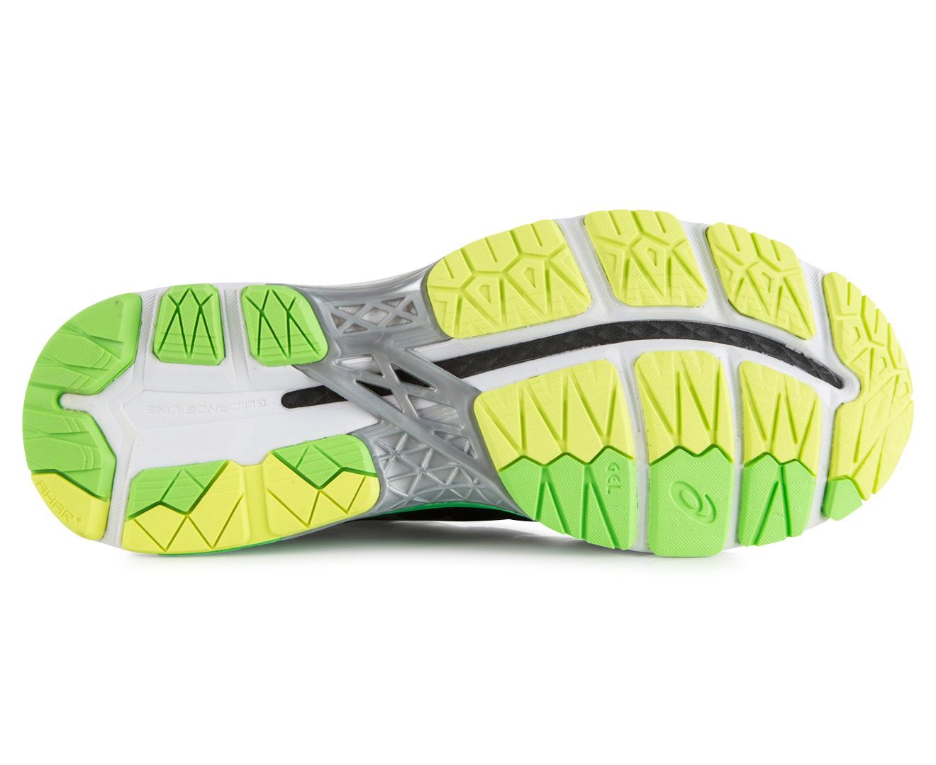 Asics Men S Gel Kayano  Shoe Black Silver Safety Yellow