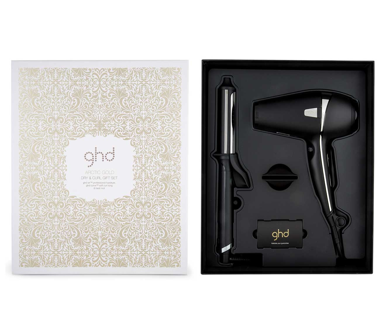 ghd Arctic Gold Deluxe Dry and Curl Tong Gift Set - Black  c406913214a