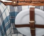 Avanti 4 Person Picnic Basket - Light Brown Willow/Blue Checker 5