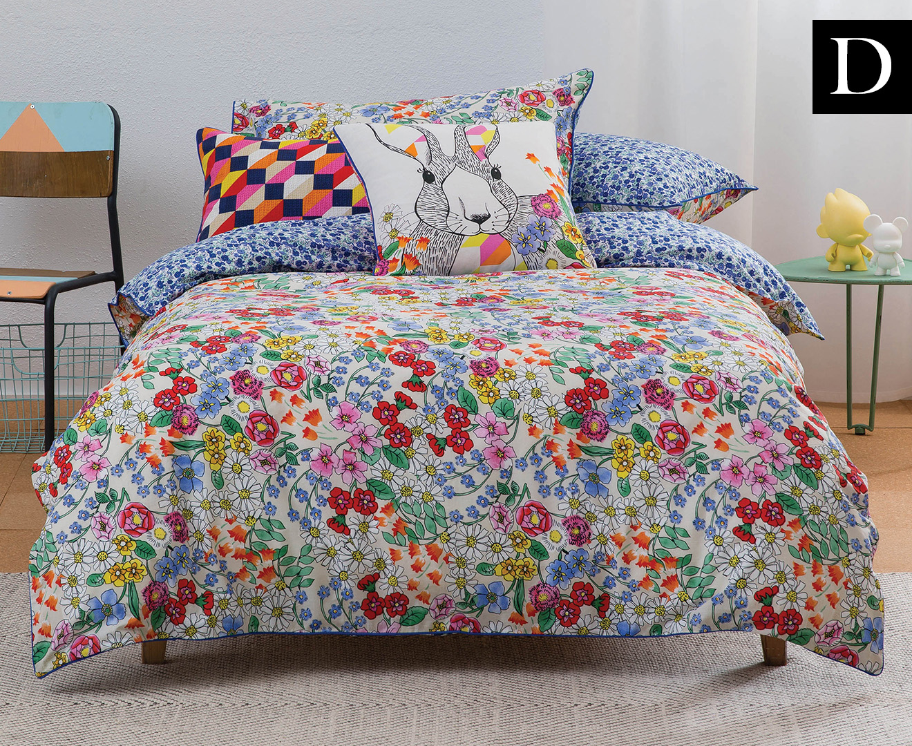 KAS Kids Daisy Double Bed Quilt Cover Set - Multi