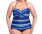 Sea Star Women's Nicola One Piece Swimsuit - Turquoise/Navy Stripe 2