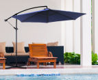 Milano 3-Metre Wide Outdoor Umbrella w/ Bonus Protective Cover - Navy 2