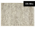 Emerald City 220x150cm Lotus Digital Print Soft Acrylic Rug - Ivory 1