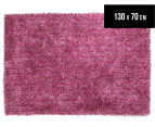 London Metallic 130x70cm Chunky & Thin Shag Rug - Berry 1