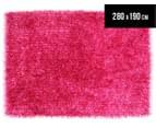 London Metallic 280x190cm Chunky & Thin Shag Rug - Magenta 1