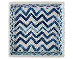 Painted Chevron 16x16cm Square Holder Dish - Blue 3