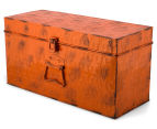 Vintage Look 49x25x19cm Punched Metal Chest - Orange 3