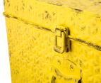 Vintage Look 49x25x19cm Punched Metal Chest - Yellow 6
