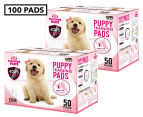 2 x Puppy Pet Dog Toilet Training Pads 50-Pack - Pink 1