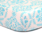 The Peanut Shell Floral Fitted Cot Sheet - Teal 1