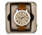 Fossil Men's 45mm Grant Chronograph Leather Watch - Light Brown 5