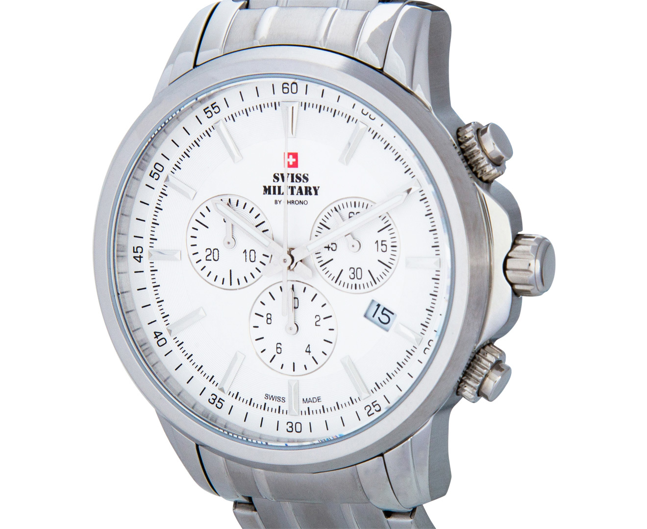 swiss s 42mm chronograph white silver