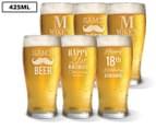 6 x Personalised Standard Beer Glass 425mL 1