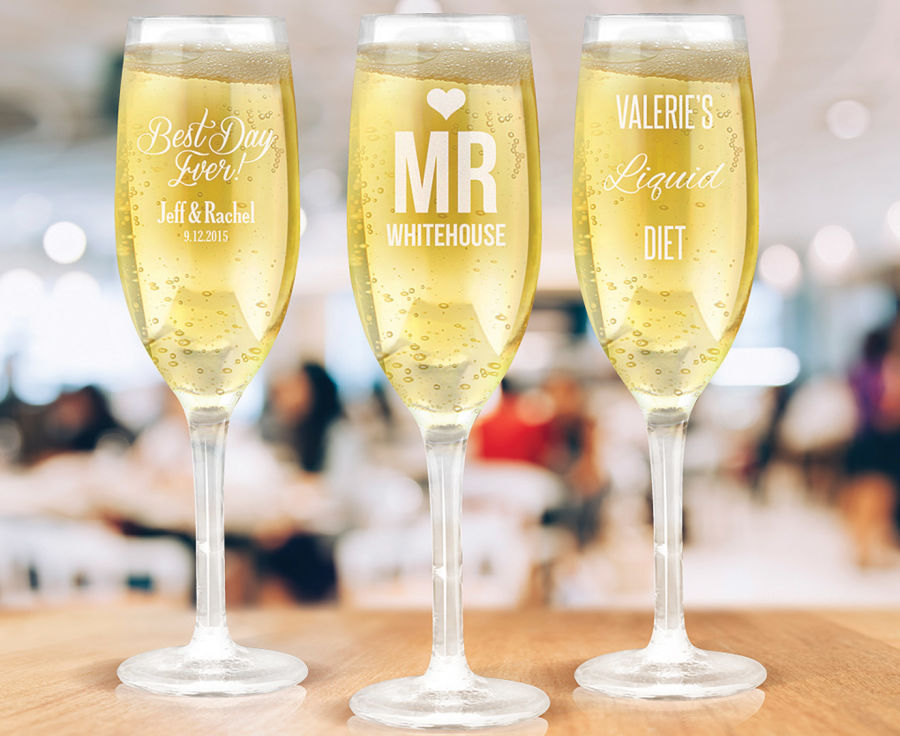 6 x personalised champagne glass