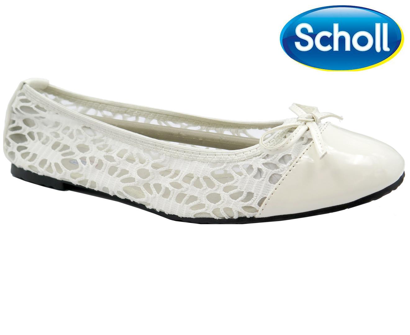 Scholl Ballerina White Lace Flat Women's Pocket tQhdBsrCx