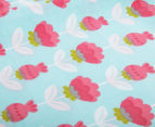 The Peanut Shell Flowers Fitted Cot Sheet - Coral/Aqua 3