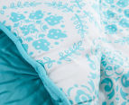 The Peanut Shell 112x94cm Pintucked Quilt - Teal 4
