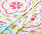 The Peanut Shell Damask Fitted Cot Sheet - Coral/Aqua 4