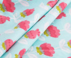 The Peanut Shell Flowers Fitted Cot Sheet - Coral/Aqua 4