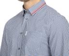 Ben Sherman Men's Gingham Mod Shirt - Navy Blazer 6